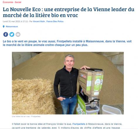 Article France Bleu Poitou - Firstpellets litière végétale